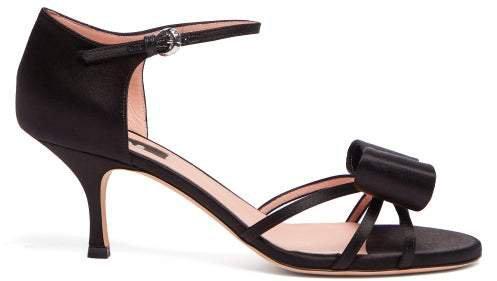 Bow Trim Satin Sandals - Womens - Black