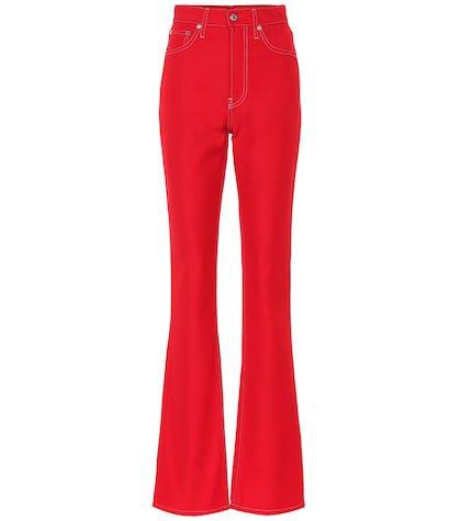High-rise cotton-blend pants