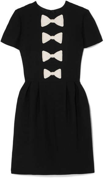 Bow-detailed Wool And Silk-blend Mini Dress - Black