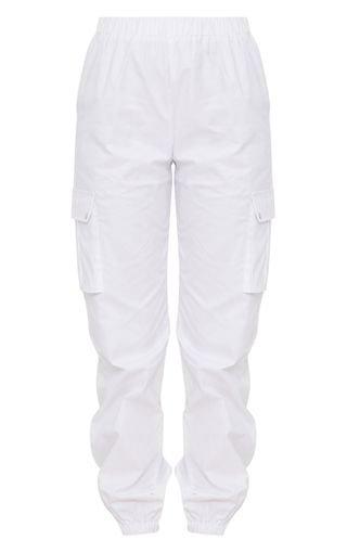 White Pocket Detail Cargo Pants | PrettyLittleThing USA