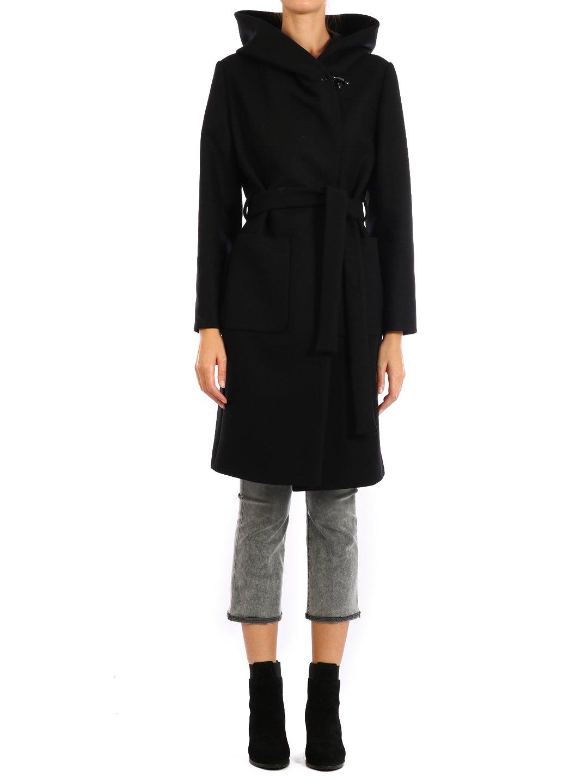 Fay Black Coat With Hood