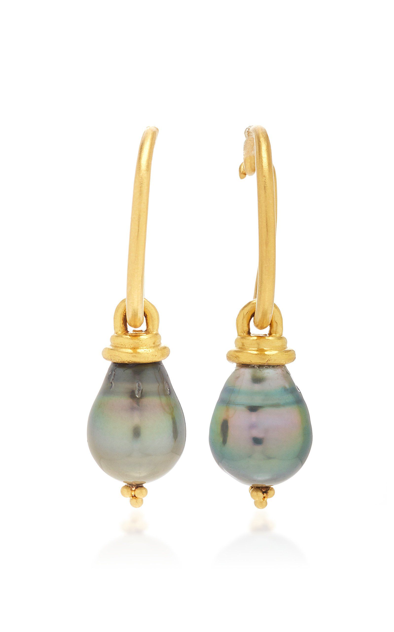 Prounis Tahitian Pearl Hoop and Hook Earrings