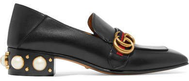 Marmont Logo And Faux Pearl-embellished Leather Collapsible-heel Pumps - Black