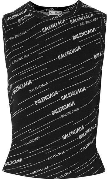 Intarsia Wool-blend Tank - Black