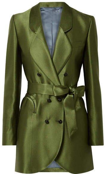 Blazé Milano - Sunshine Belted Hammered Silk-satin Mini Dress - Green