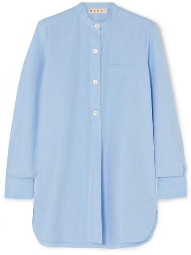 Cotton-poplin Shirt - Light blue