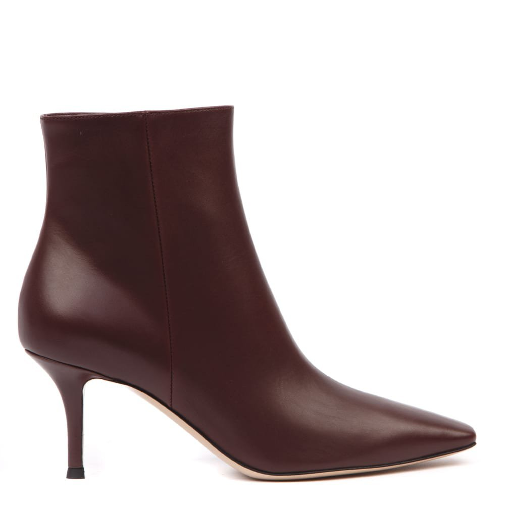 Gianvito Rossi Bordeaux Leather Stiletto Ankle Boots