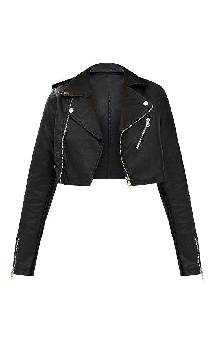 Black Cropped Pu Biker Jacket | PrettyLittleThing USA