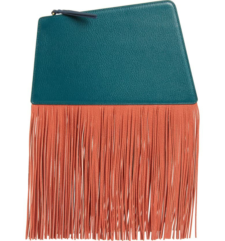 the VOLON Dia Fringe Leather Clutch | Nordstrom