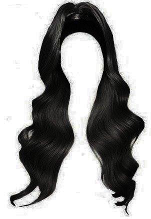 black half up half down hair edit png