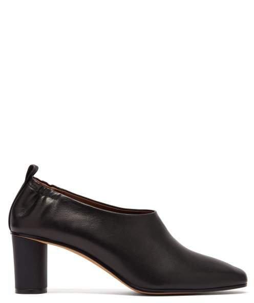 Gray Matters - Micol Block Heel Leather Pumps - Womens - Black