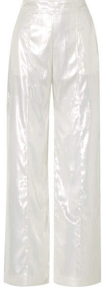 Michael Lo Sordo - Metallic Velvet Wide-leg Pants - White