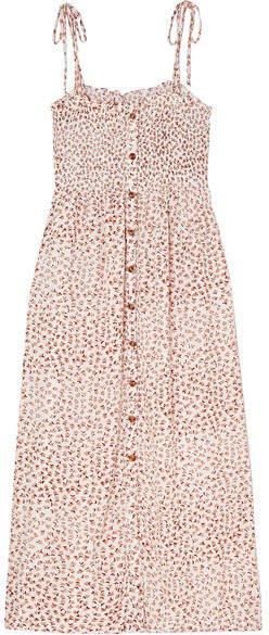 Suki Smocked Floral-print Crinkled-crepe Midi Dress - Antique rose
