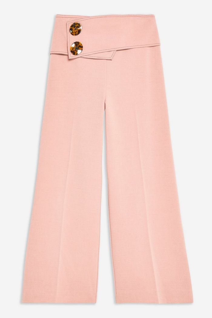 Button Crop Wide Leg Trousers | Topshop pink