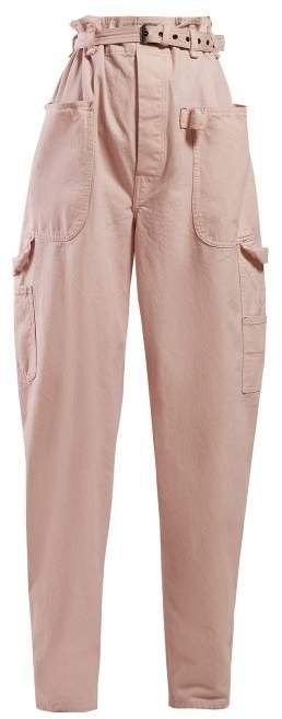 Inny Paperbag Waist Wide Leg Trousers - Womens - Light Pink