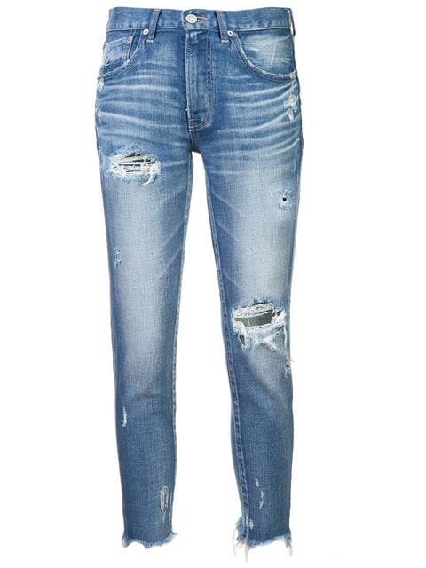 Moussy Vintage ripped raw hem jeans $286 - Buy Online - Mobile Friendly, Fast Delivery, Price