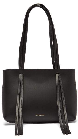 Mini Fringe Leather Tote Bag - Womens - Black
