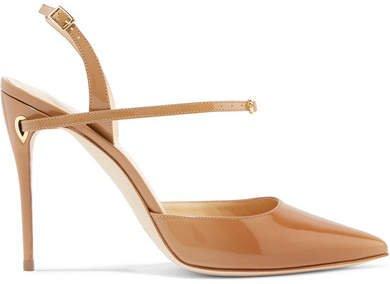 Jennifer Chamandi - Vittorio Patent-leather Slingback Pumps - Camel