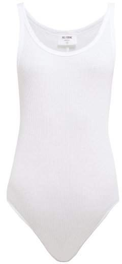 Ribbed Cotton Jersey Sleeveless Bodysuit - Womens - White