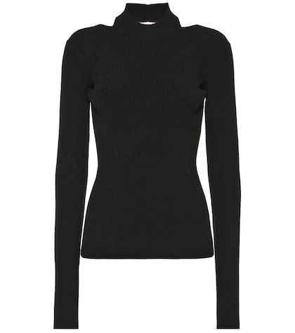 Ribbed-knit turtleneck top
