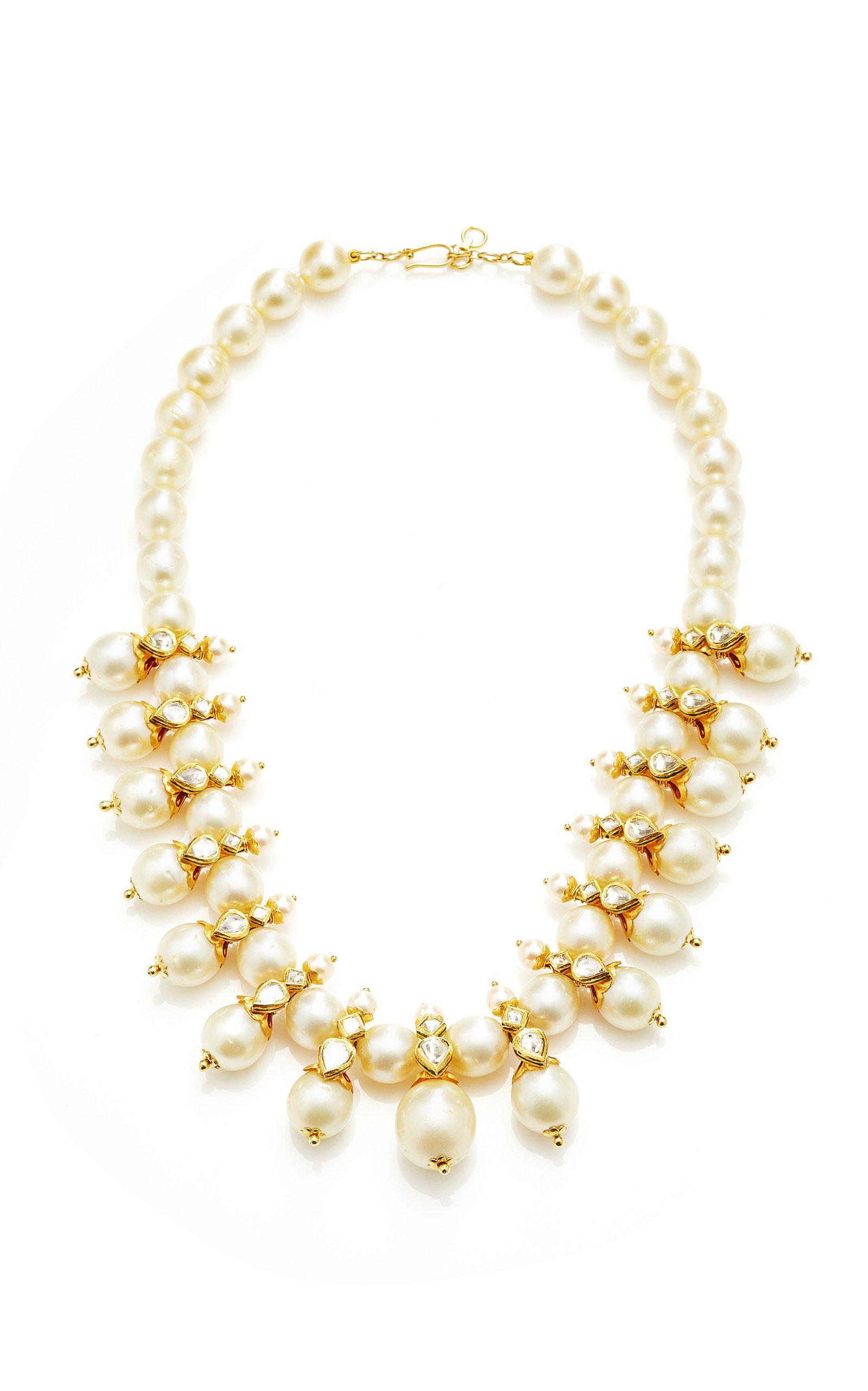 Sanjay Kasliwal Raj 22k Gold Pearl and Diamond Necklace