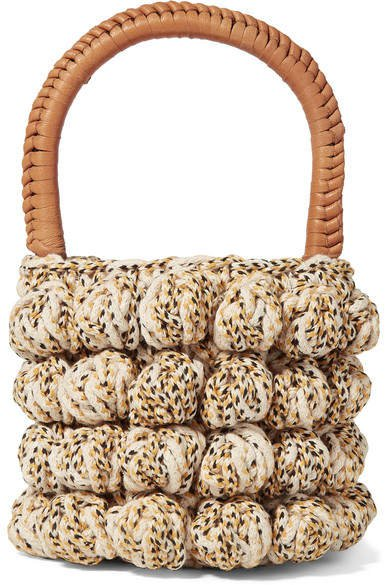 Agathe Leather-trimmed Crocheted Tote - Beige