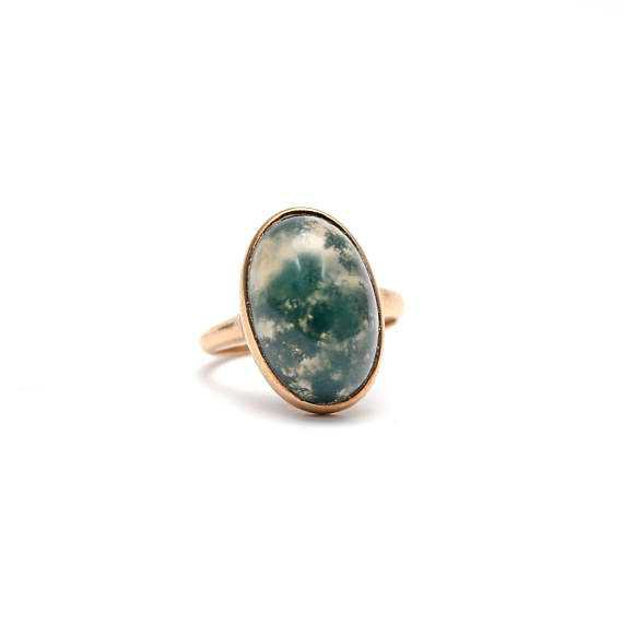10k Victorian Moss Agate Ring