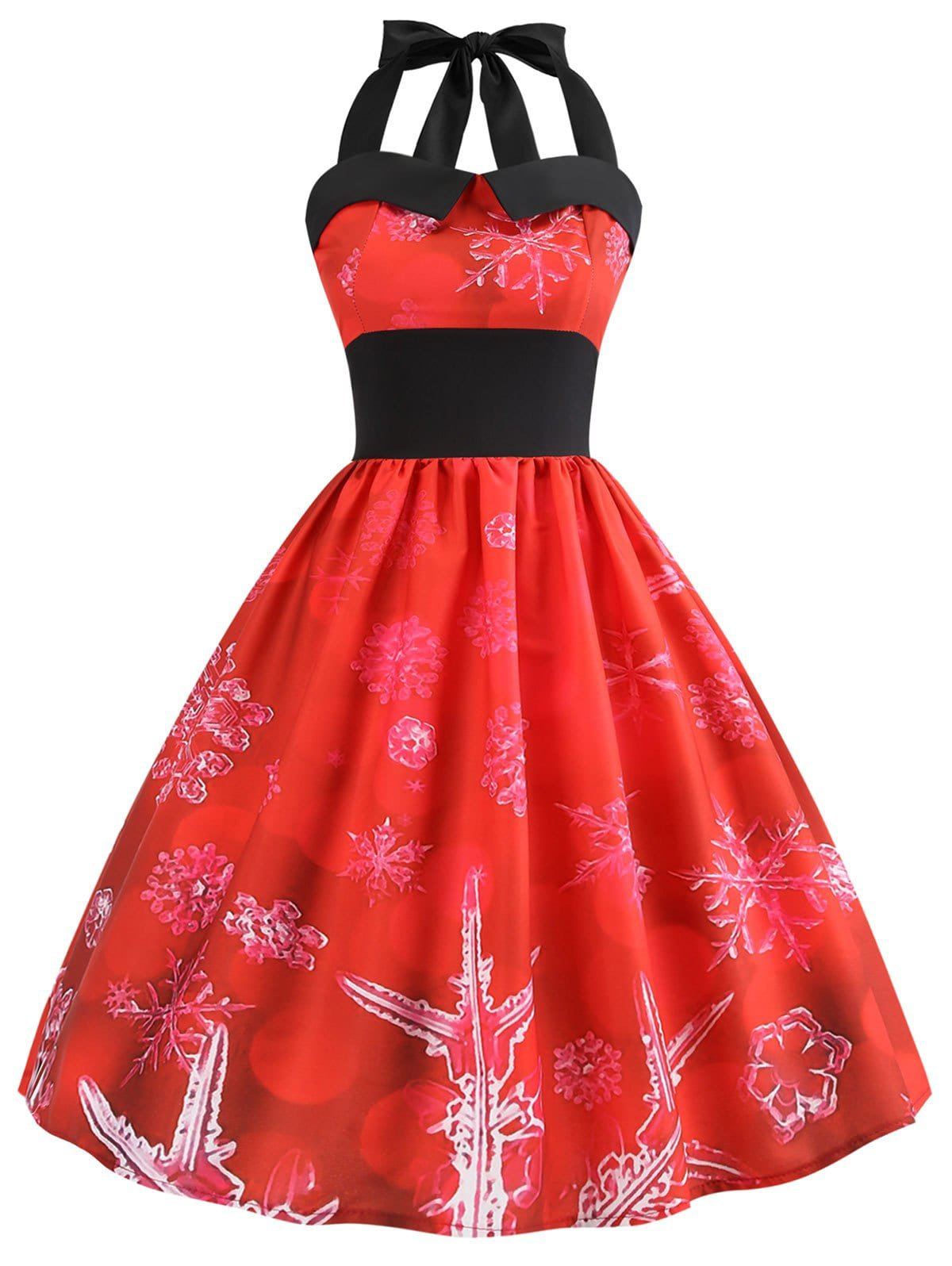 DressLily.com: Photo Gallery - Christmas Snowflake Print Halter Neck Dress