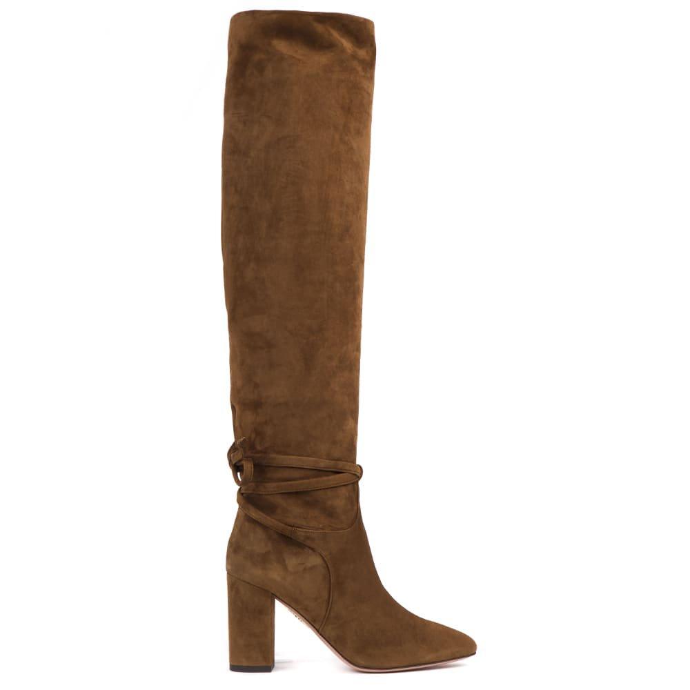 Aquazzura Suede Cinnamon Knee High Boots
