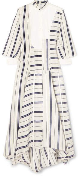 Asymmetric Striped Linen And Cotton-blend Maxi Dress - White