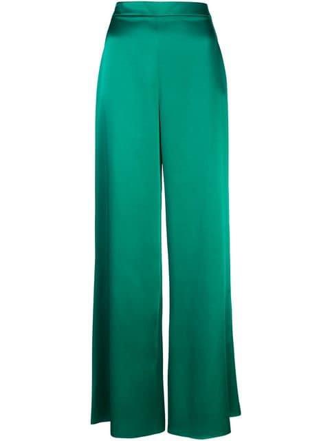 satin green pants