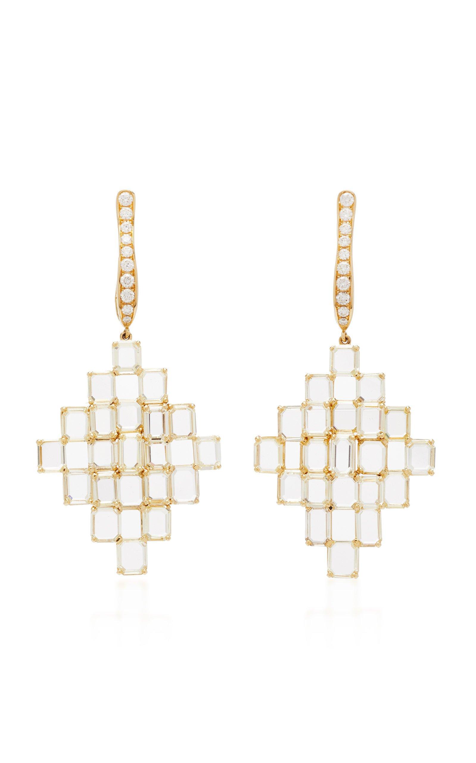 Busatti Shield 18K Gold and Diamond Earrings