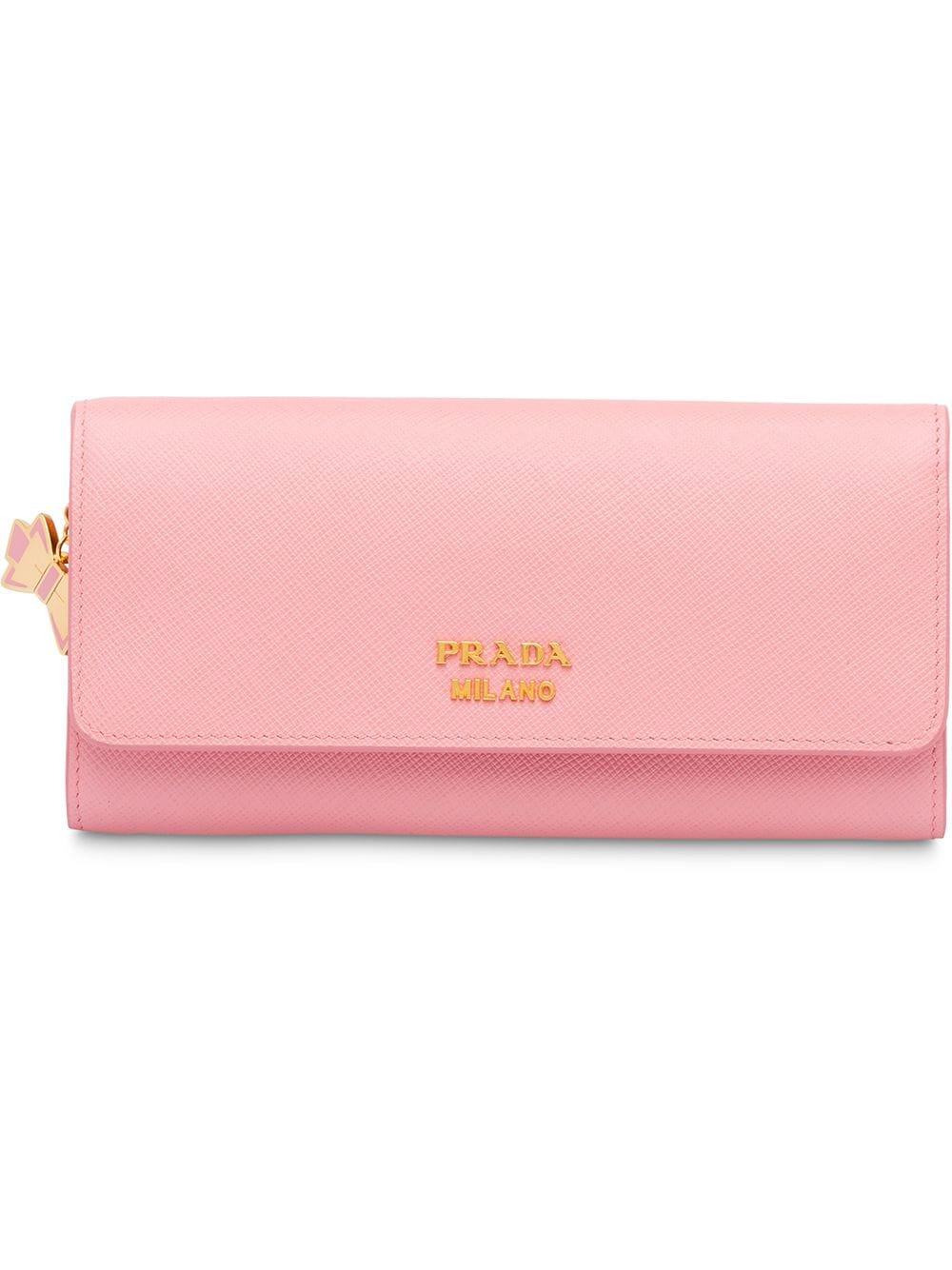 Pink Prada Large Saffiano Leather Wallet | Farfetch.com