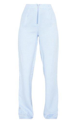 Blue Check Wide Leg Trouser | PrettyLittleThing