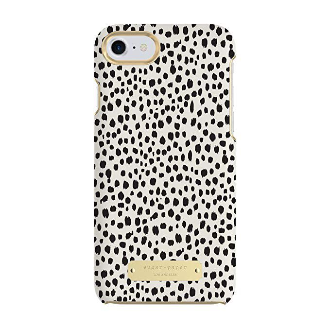 Amazon.com: Sugar Paper Cell Phone Case for iPhone 7 - Mini Leopard Dot Black/Ivory Leather: Cell Phones & Accessories