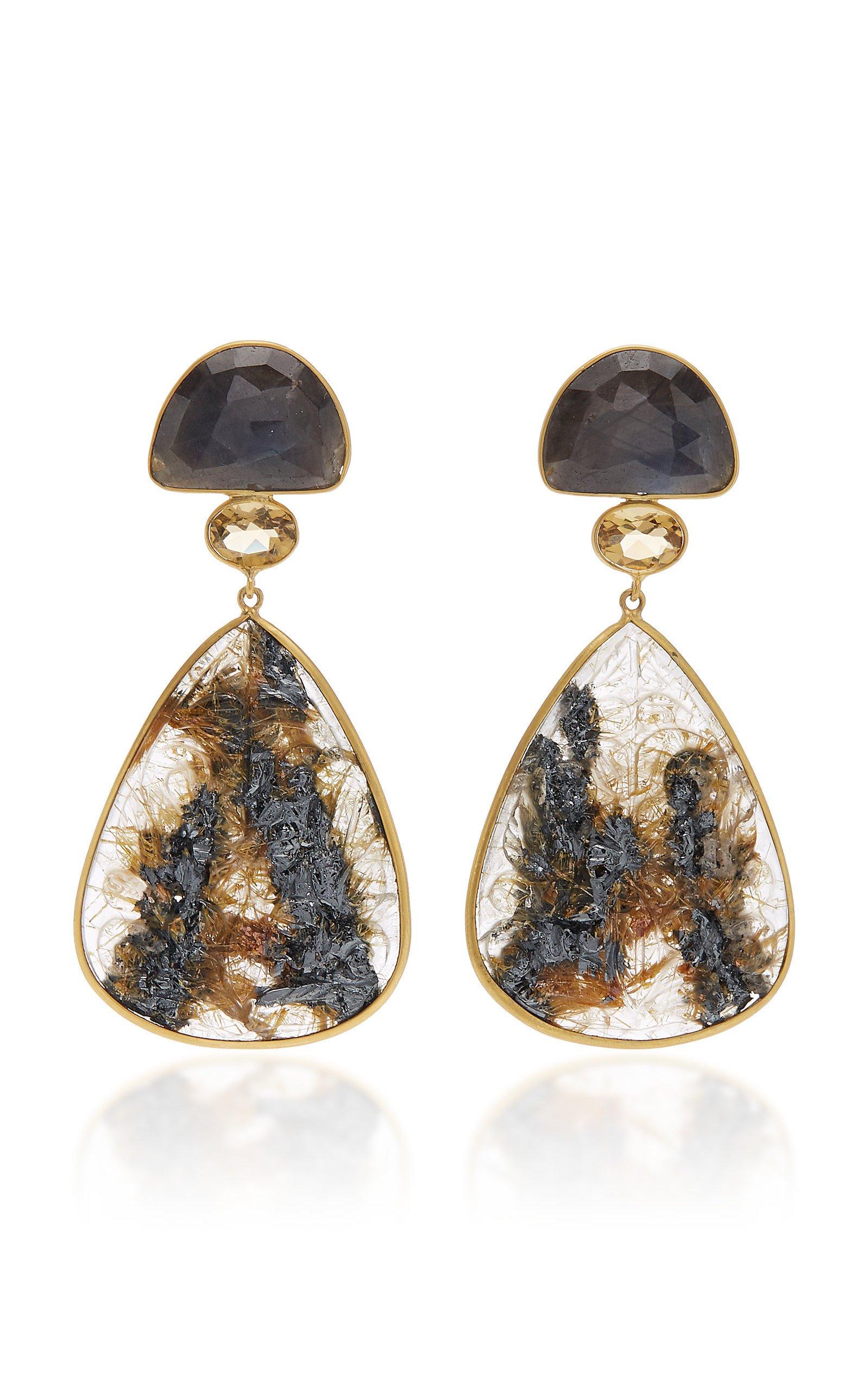 Bahina One of a Kind Sapphire Citrine and Rutilated Quartz Earrings