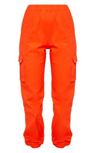 Bright Orange Pocket Detail Cargo Trousers | PrettyLittleThing