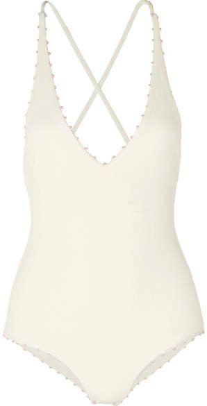 Torrey Knotted Stretch-crepe Swimsuit - White