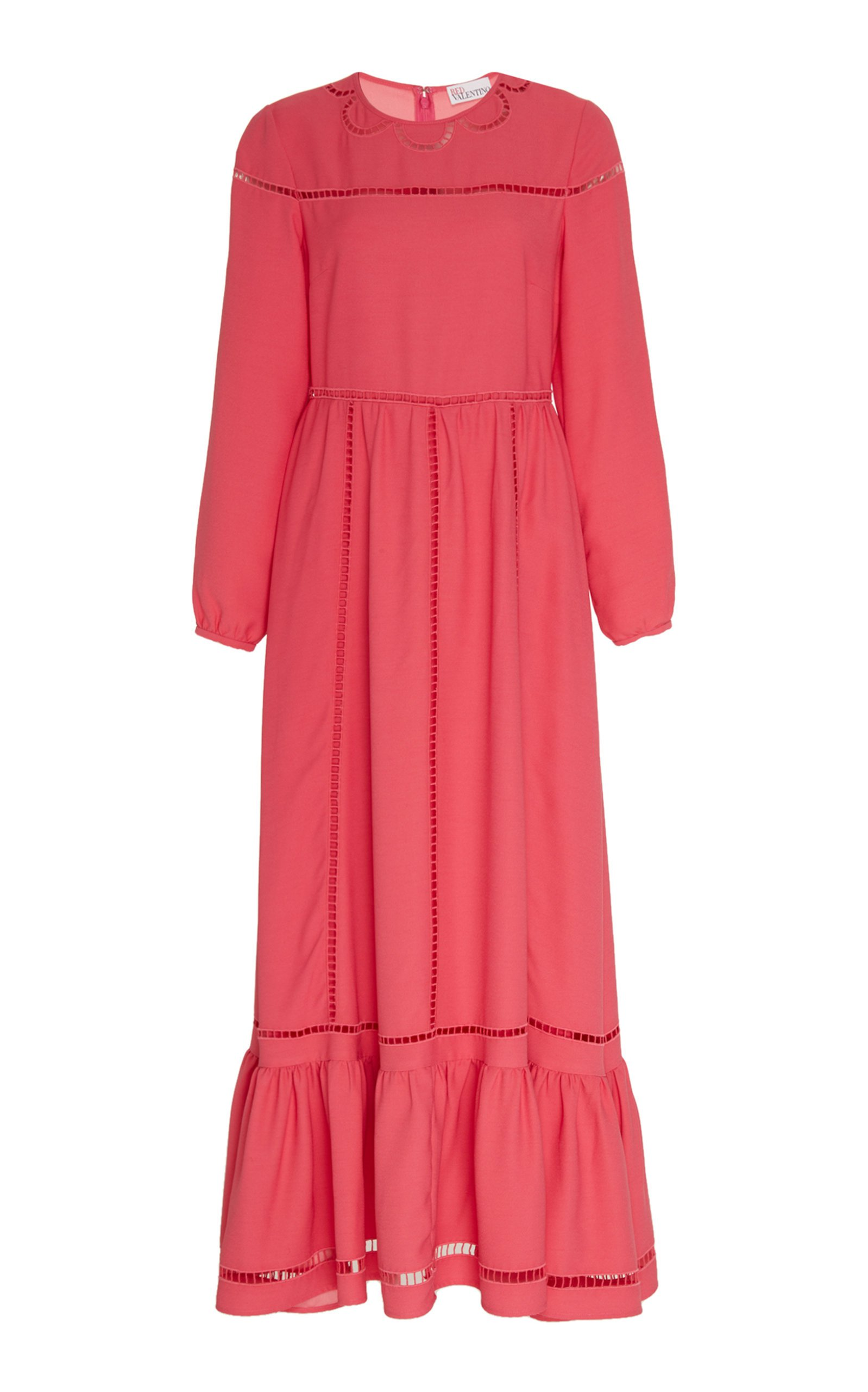 Red Valentino Pointelle Crepe De Chine Maxi Dress Size: 36
