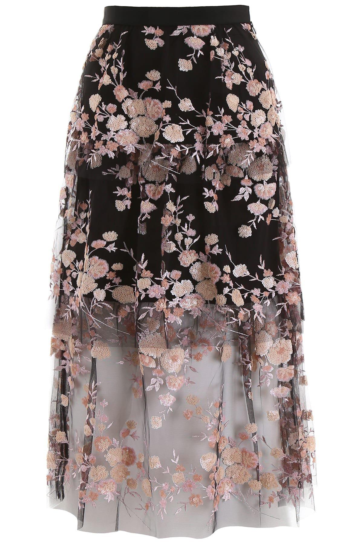 self-portrait Floral Mesh Skirt