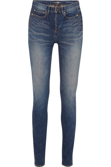 Saint Laurent | Distressed mid-rise skinny jeans | NET-A-PORTER.COM