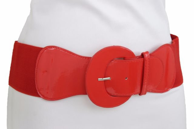 Casual Women Red Color Wide Faux Leather Elastic Band Belt Round Buckle XS S M | eBay