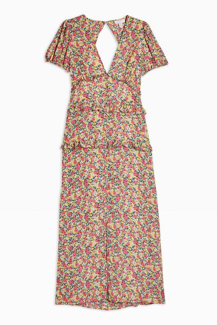 Dobby Spot Ruffle Midi Dress | Topshop red