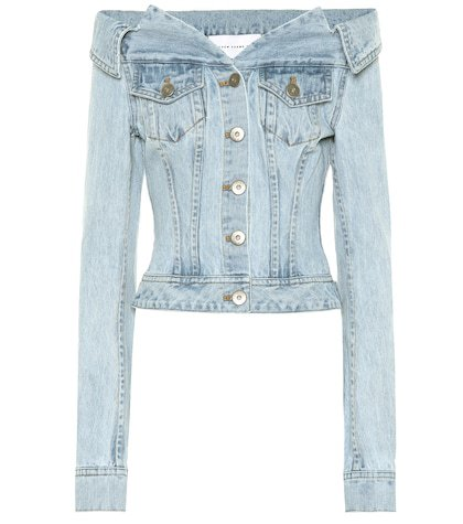 Off-the-shoulder denim jacket