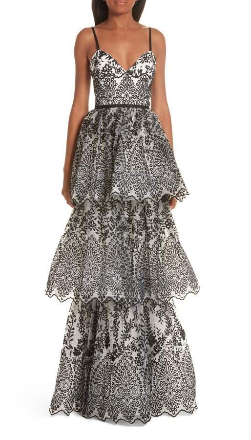 Tiered Eyelet Evening Dress