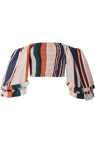 APIECE APART   Laguna cropped off-the-shoulder striped linen and silk-blend top   NET-A-PORTER.COM