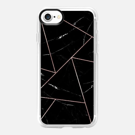 Modern Black and White Abstract Marble Rose Gold - Casetify