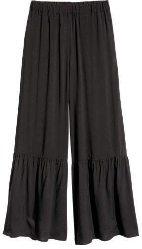 Wide-leg Pants - Black