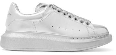 Metallic Leather Exaggerated-sole Sneakers - Silver