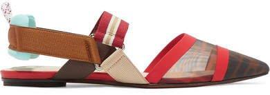 Colibrì Logo-print Mesh And Rubber Slingback Point-toe Flats - Brown
